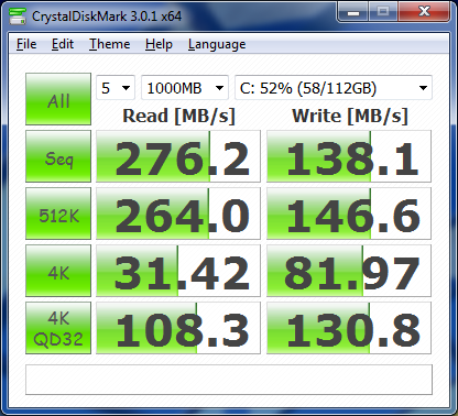 CrystalDiskMark corsair Force GT SATA II SSD with AHCI on