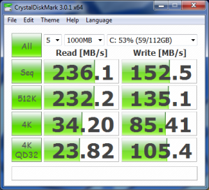 CrystalDiskMark corsair Force GT SATA II SSD with AHCI off (IDE)