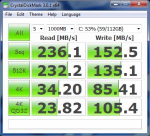 CrystalDiskMark corsair Force GT SATA II SSD with AHCI off (IDE)