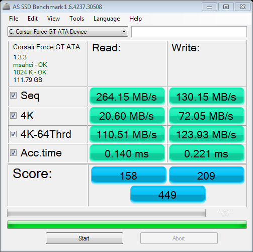 AS SSD benchmark Corsair Force GT 120 GB in AHCI mode