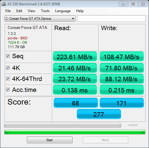 AS SSD benchmark Corsair Force GT 120 GB in no AHCI (IDE) mode
