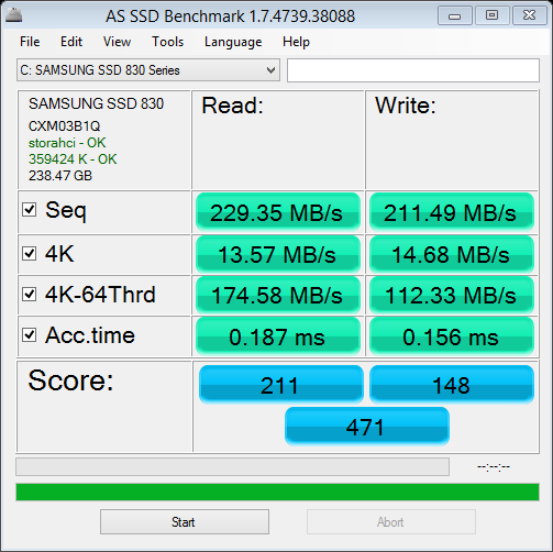 AS SSD benchmark on Samsun 830 256 GB